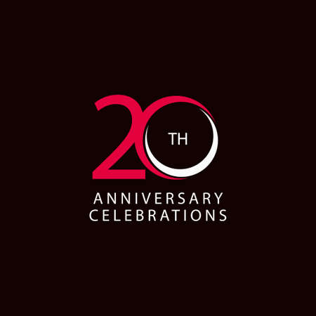 20 Th Anniversary Celebration Retro Vector Template Design Illustration