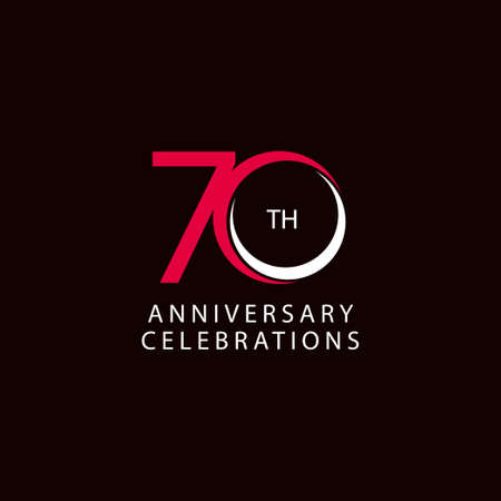 70 Th Anniversary Celebration Retro Vector Template Design Illustration