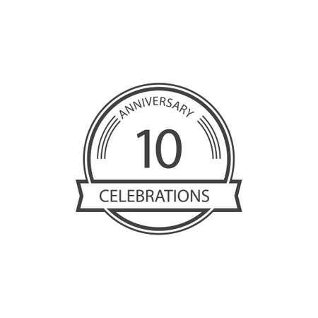 10 Years Anniversary Celebration Retro Vector Template Design Illustration