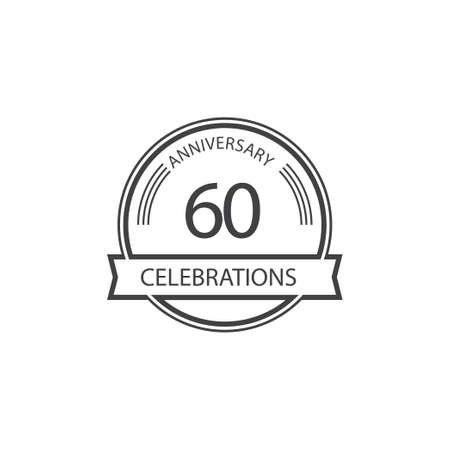 60 Years Anniversary Celebration Retro Vector Template Design Illustration Stock Illustratie