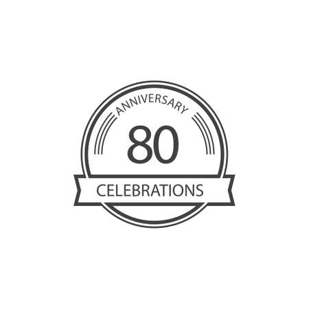 80 Years Anniversary Celebration Retro Vector Template Design Illustration