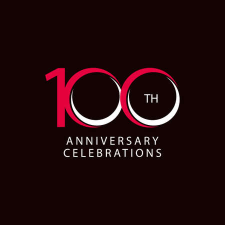 100 Th Anniversary Celebration Retro Vector Template Design Illustration