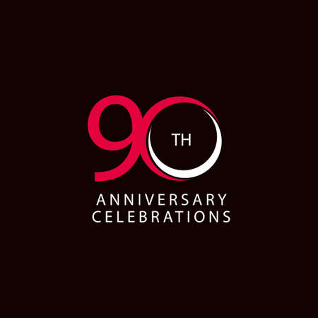 90 Th Anniversary Celebration Retro Vector Template Design Illustration