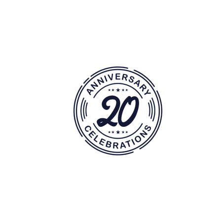 20 Years Anniversary Celebration Retro Vector Template Design Illustration Stock Illustratie