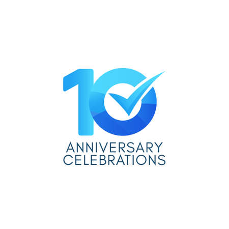 10 Years Anniversary Celebration Blue Gradient Vector Template Design Illustration