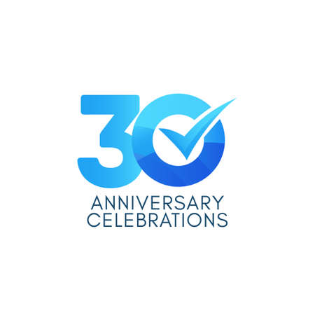 30 Years Anniversary Celebration Blue Gradient Vector Template Design Illustration Stock Illustratie
