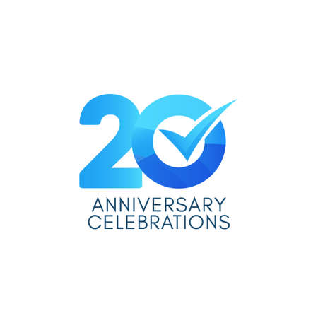 20 Years Anniversary Celebration Blue Gradient Vector Template Design Illustration