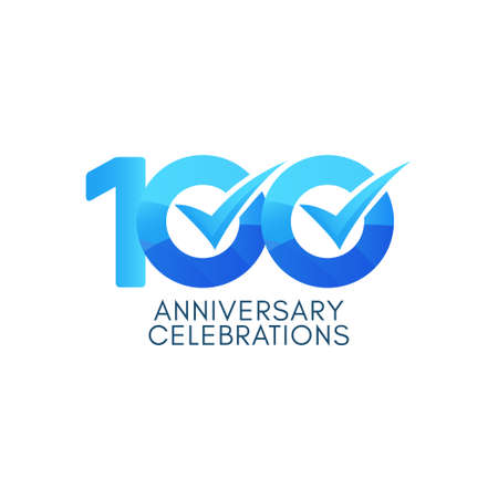 100 Years Anniversary Celebration Blue Gradient Vector Template Design Illustration Stock Illustratie