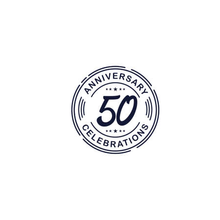 50 Years Anniversary Celebration Retro Vector Template Design Illustration