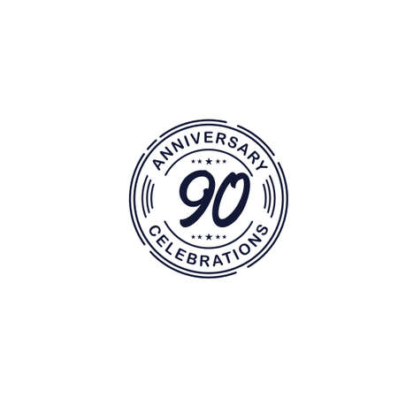 90 Years Anniversary Celebration Retro Vector Template Design Illustration