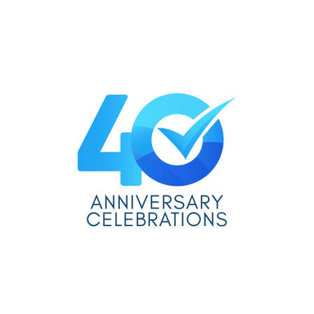 40 Years Anniversary Celebration Blue Gradient Vector Template Design Illustration Stock Illustratie