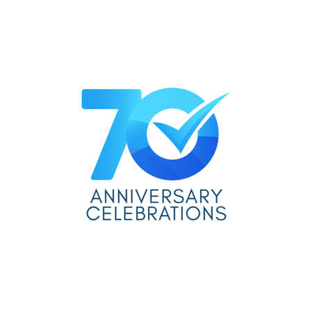 70 Years Anniversary Celebration Blue Gradient Vector Template Design Illustration