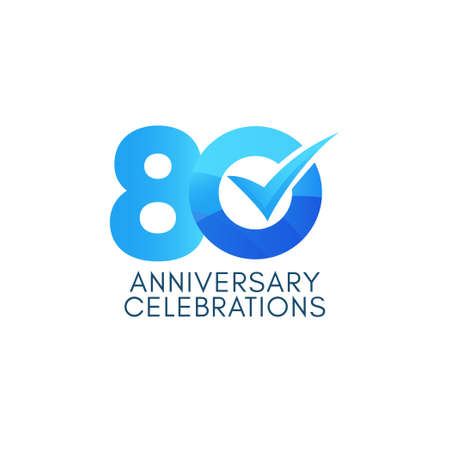 80 Years Anniversary Celebration Blue Gradient Vector Template Design Illustration Stock Illustratie