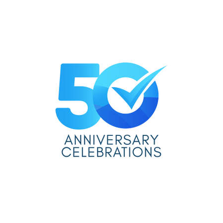 50 Years Anniversary Celebration Blue Gradient Vector Template Design Illustration