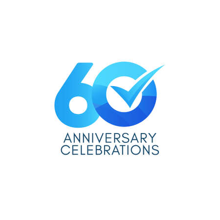 60 Years Anniversary Celebration Blue Gradient Vector Template Design Illustration Stock Illustratie