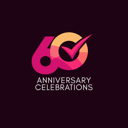 60 Years Anniversary Celebration Full Color Vector Template Design Illustration