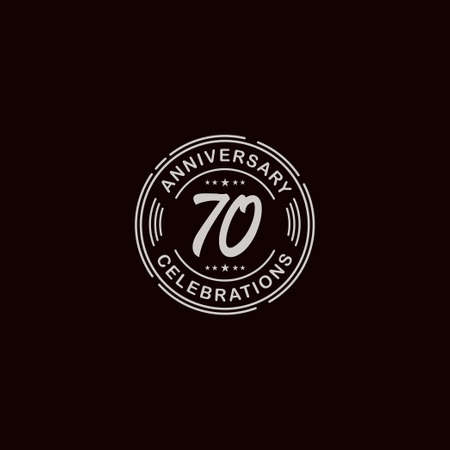 70 Years Anniversary Celebration Retro Vector Template Design Illustration Stock Illustratie