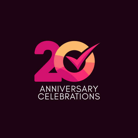 20 Years Anniversary Celebration Full Color Vector Template Design Illustration