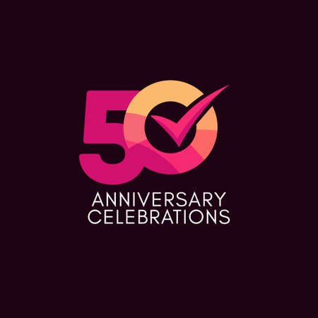50 Years Anniversary Celebration Full Color Vector Template Design Illustration