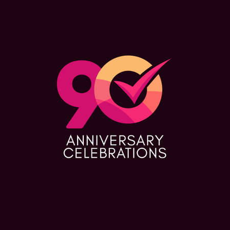 90 Years Anniversary Celebration Full Color Vector Template Design Illustration Stock Illustratie