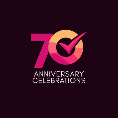 70 Years Anniversary Celebration Full Color Vector Template Design Illustration Stock Illustratie