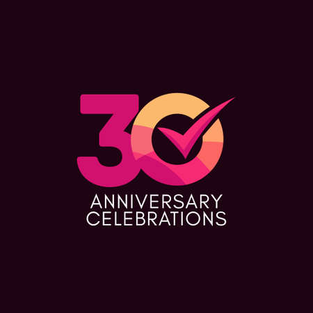 30 Years Anniversary Celebration Full Color Vector Template Design Illustration