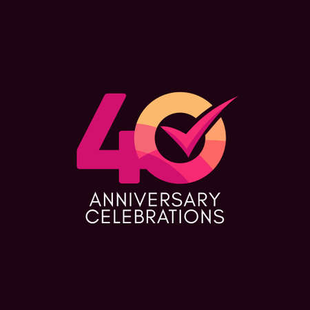 40 Years Anniversary Celebration Full Color Vector Template Design Illustration Stock Illustratie