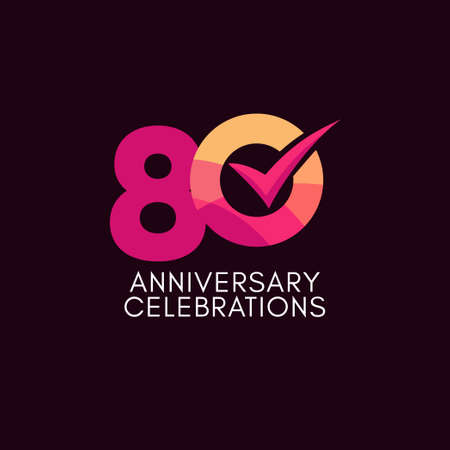 80 Years Anniversary Celebration Full Color Vector Template Design Illustration