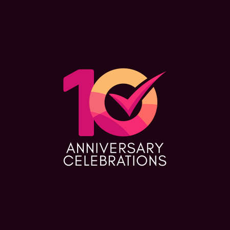 10 Years Anniversary Celebration Full Color Vector Template Design Illustration
