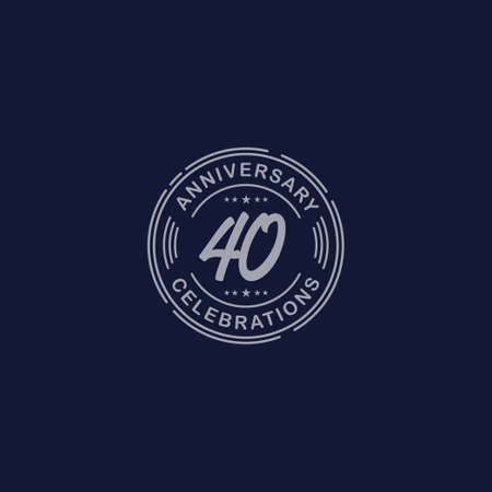 40 Years Anniversary Celebration Retro Vector Template Design Illustration