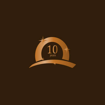 10 Years Anniversary Celebration Brown Gold Vector Template Design Illustration