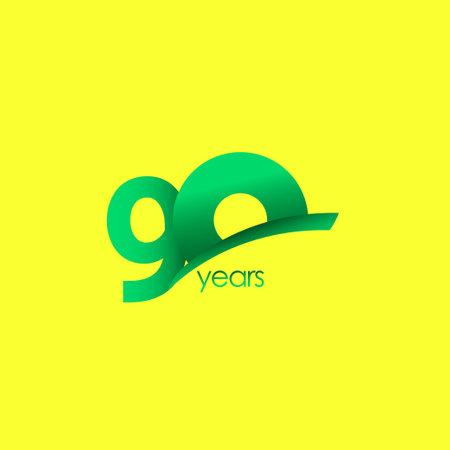 90 Years Anniversary Celebration Green Shape Vector Template Design Illustration Stock Illustratie