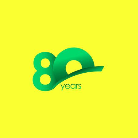 80 Years Anniversary Celebration Green Shape Vector Template Design Illustration