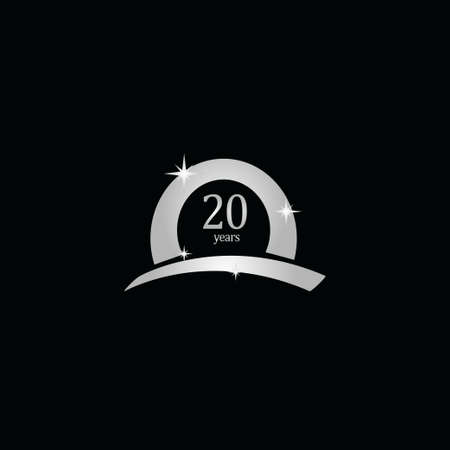 20 Years Anniversary Celebration White Vector Template Design Illustration Stock Illustratie