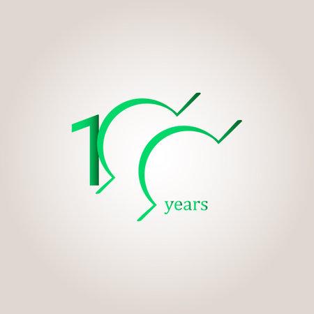 100 Years Anniversary Celebration Green Line Vector Template Design Illustration Stock Illustratie