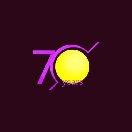 70 Years Anniversary Celebration Circle Purple Vector Template Design Illustration