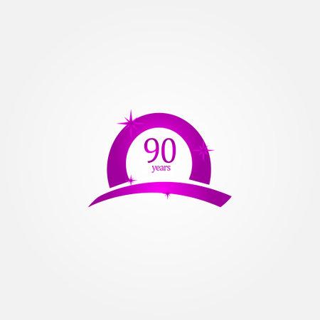 90 Years Anniversary Celebration Purple Vector Template Design Illustration