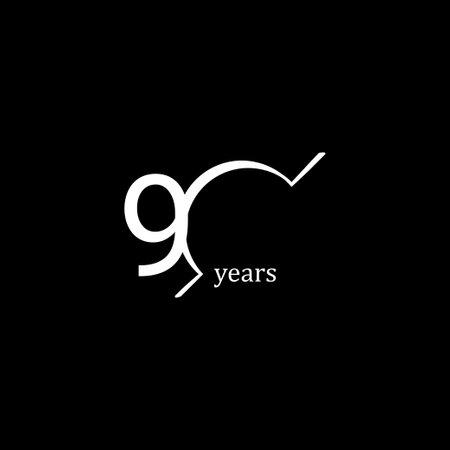 90 Years Anniversary Celebration White Line Vector Template Design Illustration