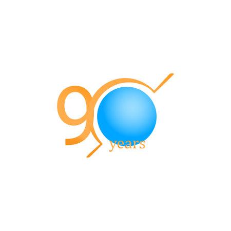90 Years Anniversary Celebration Circle Orange Vector Template Design Illustration Stock Illustratie
