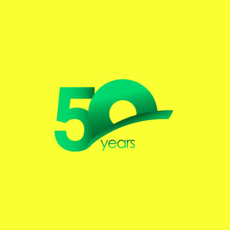 50 Years Anniversary Celebration Green Shape Vector Template Design Illustration