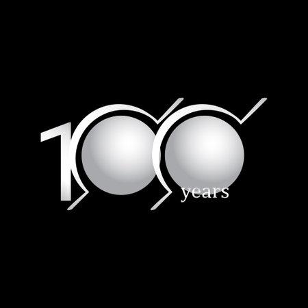 100 Years Anniversary Celebration Circle White Vector Template Design Illustration