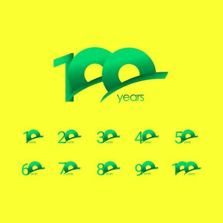 100 Years Anniversary Celebration Green Shape Vector Template Design Illustration