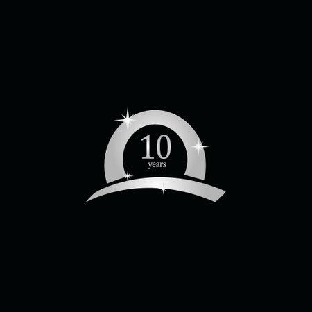 10 Years Anniversary Celebration White Vector Template Design Illustration