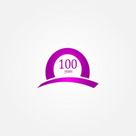 100 Years Anniversary Celebration Purple Vector Template Design Illustration