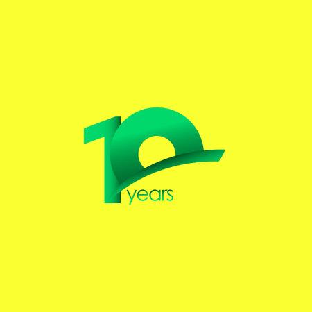 10 Years Anniversary Celebration Green Shape Vector Template Design Illustration