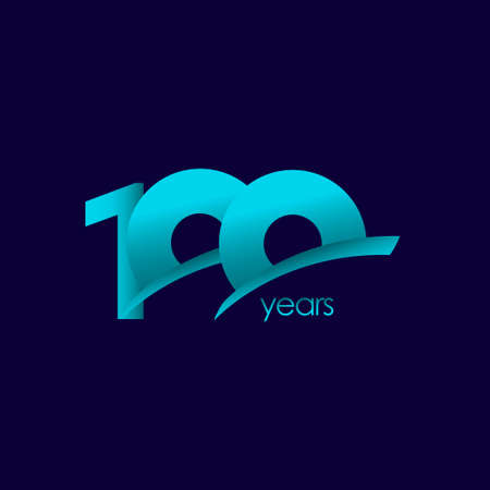100 Years Anniversary Celebration Blue Shape Vector Template Design Illustration