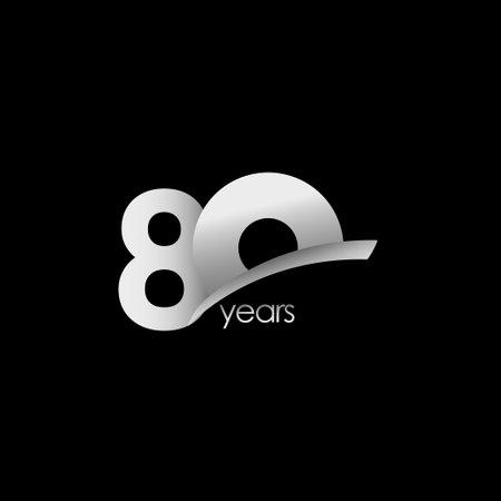 80 Years Anniversary Celebration White Shape Vector Template Design Illustration Stock Illustratie