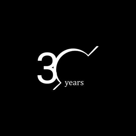 30 Years Anniversary Celebration White Line Vector Template Design Illustration