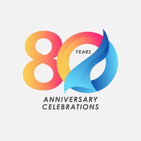 80 Years Anniversary Celebrations Gradient Vector Template Design Illustration Stock Illustratie
