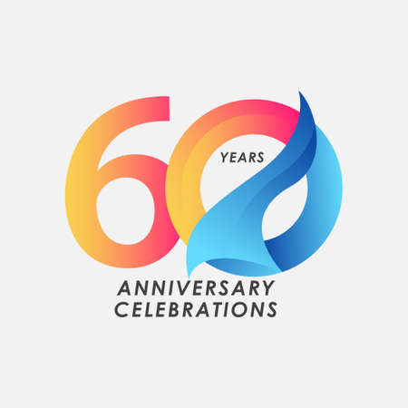 60 Years Anniversary Celebrations Gradient Vector Template Design Illustration